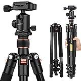 Treppiede Reflex K&F Concept TM2324 Cavalletto Fotografico Portatile Alluminio Testa a Sfera 156cm 4 Sezioni con Borsa per Canon Nikon Sony DSLR DV Arancio