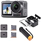 DJI Osmo Action Camera Digitale con Doppio Display, 11 m Resistente all'Acqua, 4K HDR-Video, 12 MP, 145°, Angolare, Nero + Batteria Impugnatura Gallegiante + Custodia Impermeabile