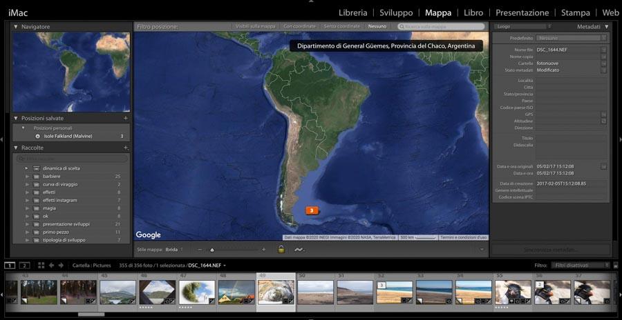 interfaccia lightroom mappa