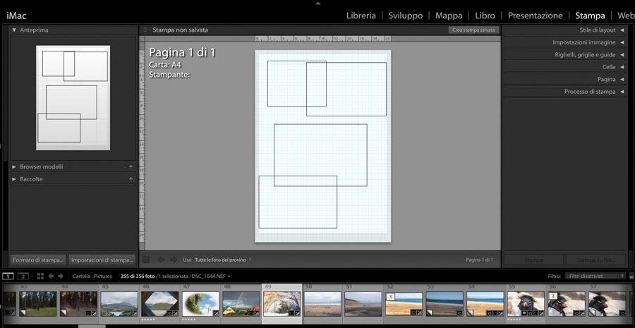 lightroom interfaccia stampa